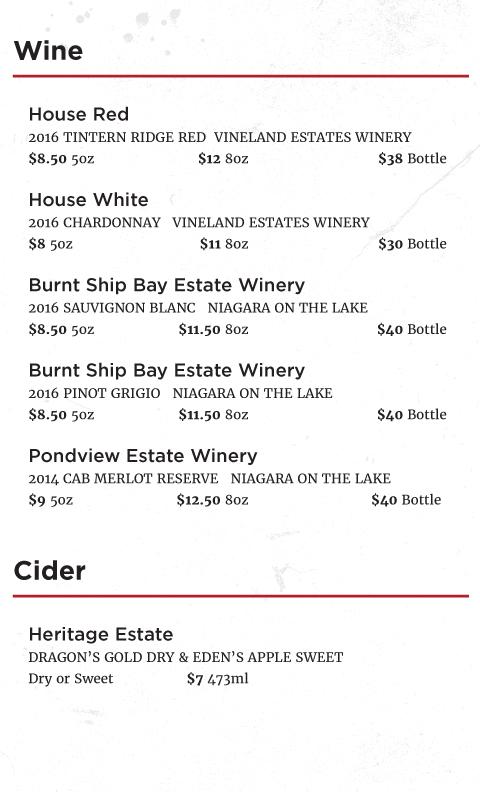 Redline Brewhouse Wine List